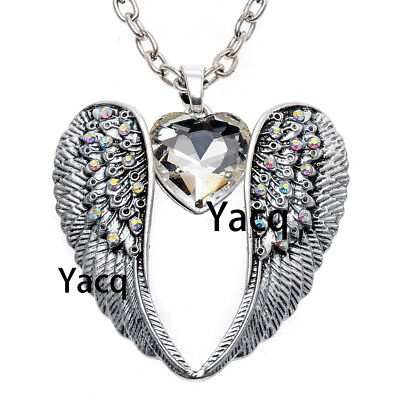 Guardian angel wing Heart pendant necklace women biker jewelry gifts silver NC06