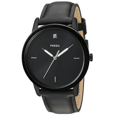 Fossil Men's Watch The Minimalist Diamond Black Dial Leather Strap FS5478