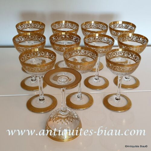 Cocktail glass in crystal Saint - Louis - Thistle gold in perfect condition