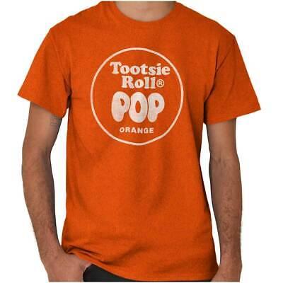 Vintage Tootsie Roll Pop Orange Lollipop Logo Short Sleeve T-Shirt Tees - Orange Lollipop