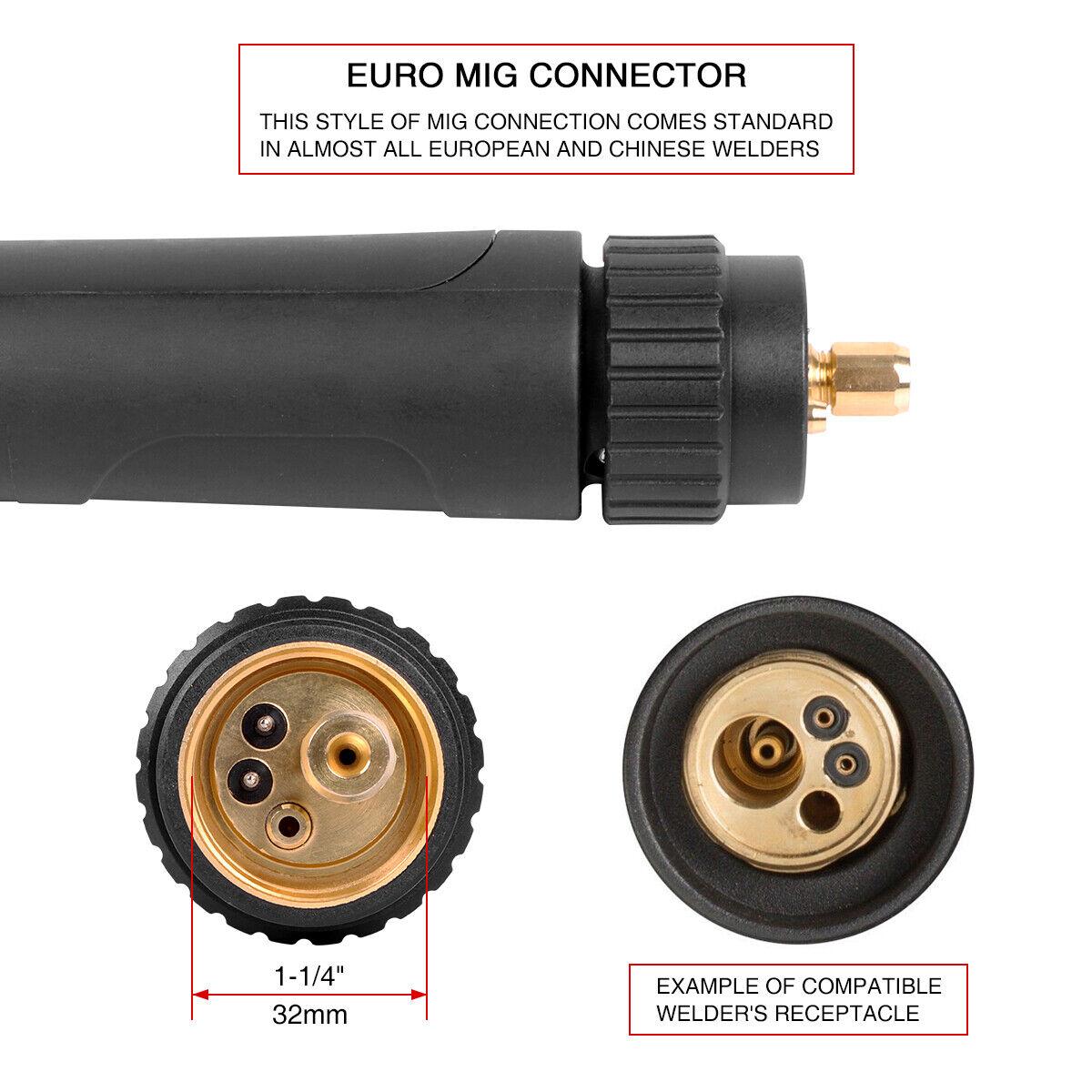 Heavy Duty Mig Welding Gun Euro connection 250A 15/' fits Longevity Esab Tweco #2