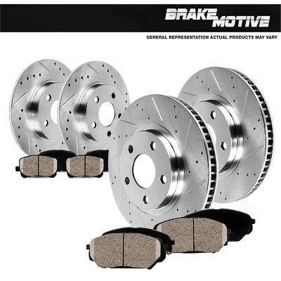 Front  Rear Drilled Slotted Brake Rotors And Ceramic Pads RX350 RX450H Sienna