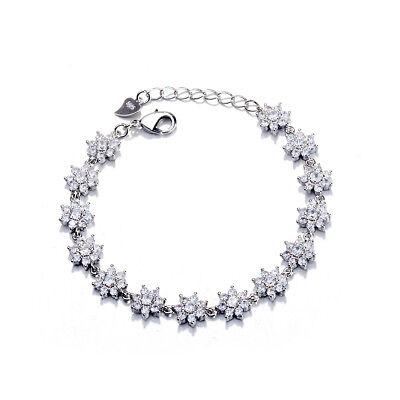 (Genuine Crystal Sterling Silver Flower Bracelet)