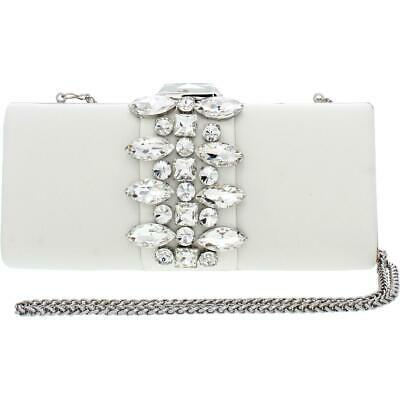 Adrianna Papell Womens Valleri Ivory Satin Clutch Handbag Purse Small BHFO 2575 Ivory Satin Purse