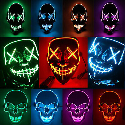 LED Light Mask Up Party Mask The Purge Election Year Party Cosplay Halloween DHL