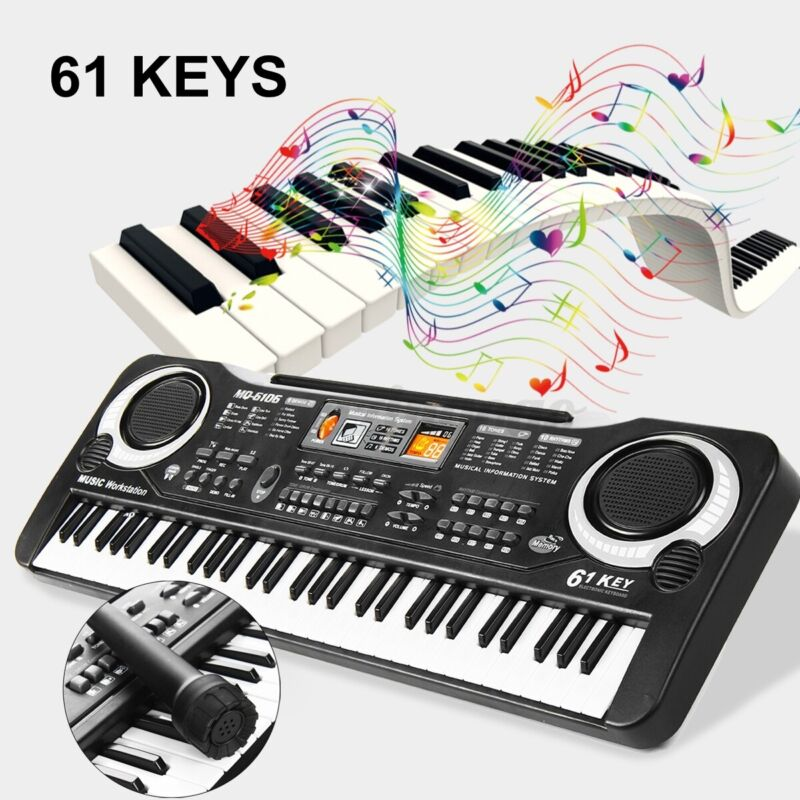 Portable Electronic Piano Keyboard 61Key W/Music Stand Microphone For Kids