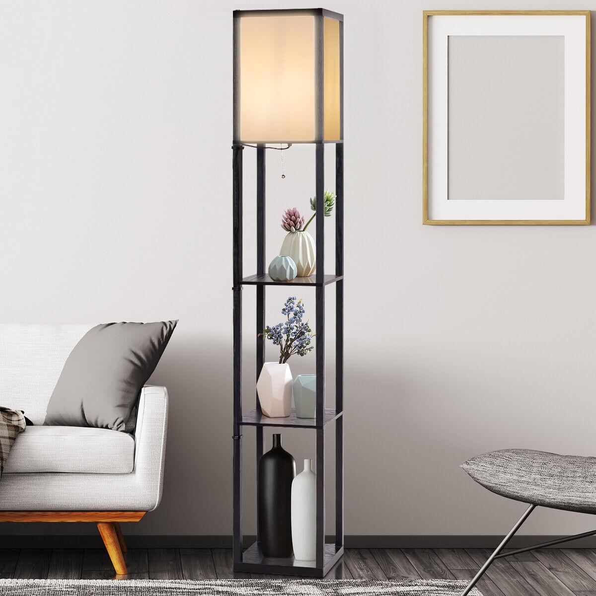 Standleuchte Stehlampe Moderne Innenbeleuchtung Bodenlampe 3-Ebene Regal