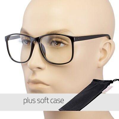 Groß Übergröße Brille Klar Gläser Dünn Rahmen Nerd Brille Retro Tasche
