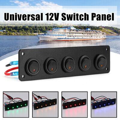 12V/24V 5 Gang On/Off Push Button Rocker Switch Panel Car Boat Circuit