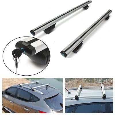 "2x 53"" Universal Roof Rack Car Luggage Top Cross Bars Aluminium Adjustable 220lb"