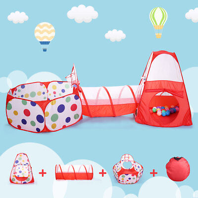 3 in 1 Play Tent House Tunnel Baby Kids Ball Pit Pool Indoor Outdoor Playground