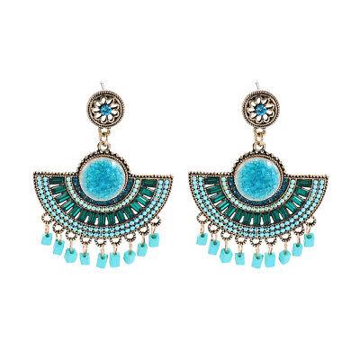 Earrings Clip Golden Tribunal Fan Big Porcelain Tassel Blue X38