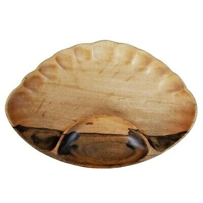 Mango Wood Chip & Dip Serving Bowl Scalloped Party Tray Natural Charcuterie Dish