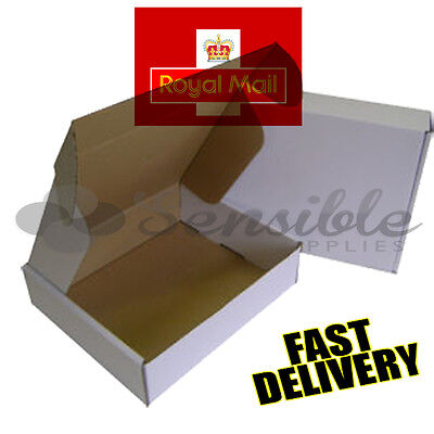 5 x WHITE ROYAL MAIL MAXIMUM SIZE SMALL PARCEL MAIL CARDBOARD BOXES 441x350x80mm