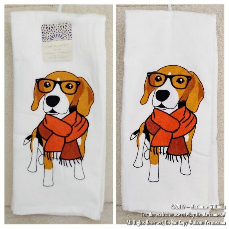 2 NEW CYNTHIA ROWLEY KITCHEN HAND TOWELS BEAGLE DOG DRESSED IN A SCARF & GLASSES