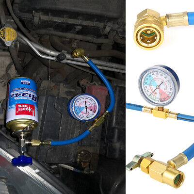 Recharge Measuring R134A Hose Car Air Conditioning Refrigerant Adapter Gauge Kit