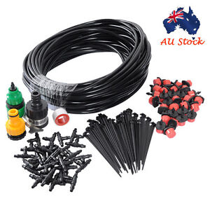 New 25m DIY Micro Drip Irrigation System Plant Self Watering Garden Hose Kits AU