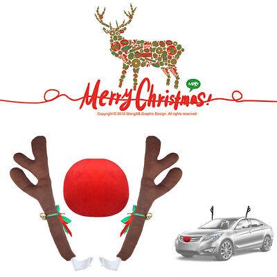 3Pcs Plush Antlers+Nose Car Auto Costume Christmas Decor Exterior Accessories - Tucson Costumes