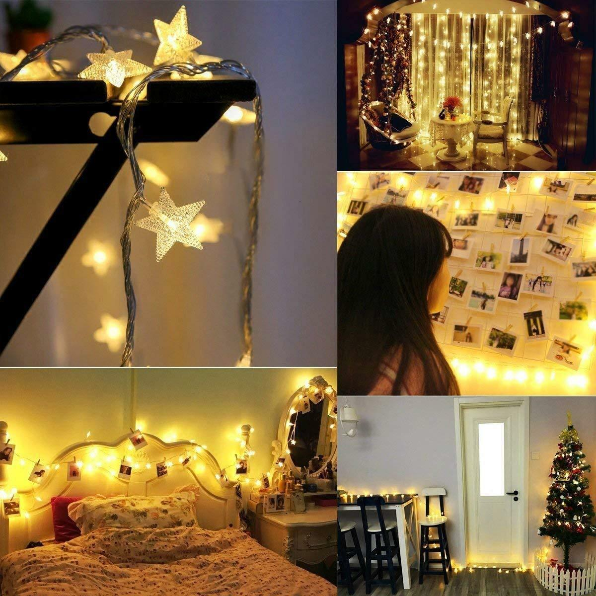 Star 40 Led Lights String Battery Operated Bedroom Xmas Fairy Lamp Home Decor