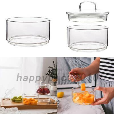 Borosilicate Glass Clear Fruit Dessert Salad Bowl Home Snack Jar With Lid US
