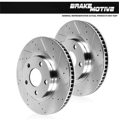 Front Drilled And Slotted Brake Disc Rotors For Audi A4 A6 Quattro Allroad S4 (Quattro Front Drilled Rotors)