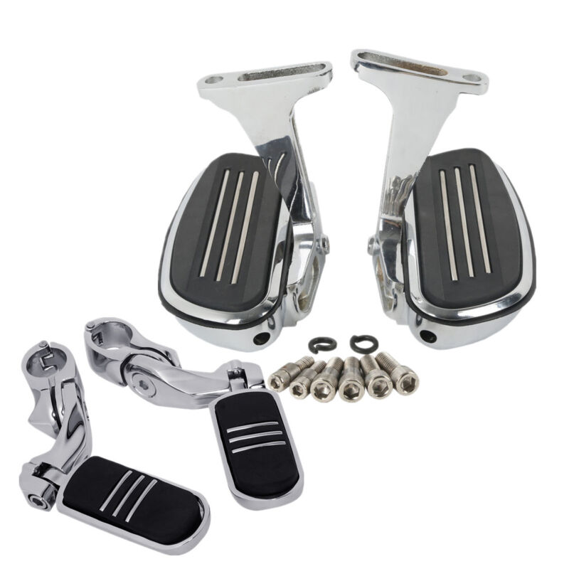 Black, Short Angled TCMT Passenger Floorboards Streamline Footboards Mount Bracket Kits+1.25 Adjustable Highway Footpegs Fit for Touring Models Road King Street Glide 1993-2020