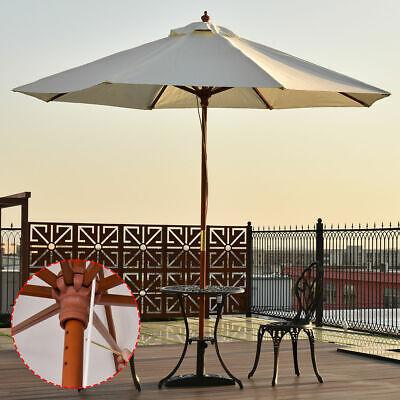 Adjustable 9FT Wooden Patio Umbrella Wood Pole Outdoor Garde