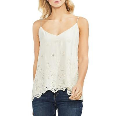 Vince Camuto Womens Scalloped Eyelet Casual Camisole Top Shirt BHFO -