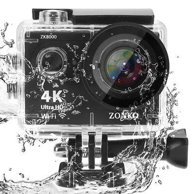 4K WiFi Ultra HD Sports Action Camera Waterproof 12MP Portable 170° Wide Angle