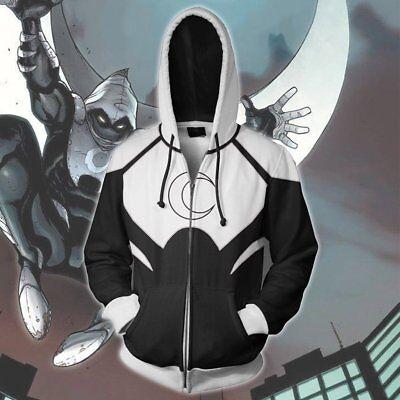Superhero Movie Moon Knight hoodie Sweatshirt Cosplay Costume coat jacket - Cool Superheroes Costumes