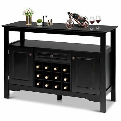 Storage Buffet Sever Cabinet Sideboard Table Wood Wine Rack