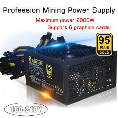 New 2000W ATX Gold Mining Power Supply SATA IDE 8 GPU for ETH BTC Ethereum