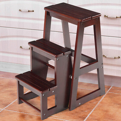 Wooden Step Stool - Wood Step Stool Folding 3 Tier Ladder Chair Bench Seat Utility Multi-functional