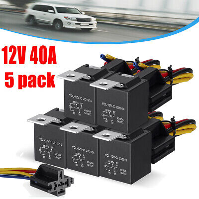 5 Pcs Dc 12v Car Spdt Automotive Relay 5 Pin 5 Wires Wharness Sockets 3040 Amp