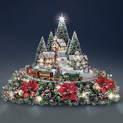 thomas kinkade animated christmas village sculpture table centerpiece new - Animated Christmas Figures
