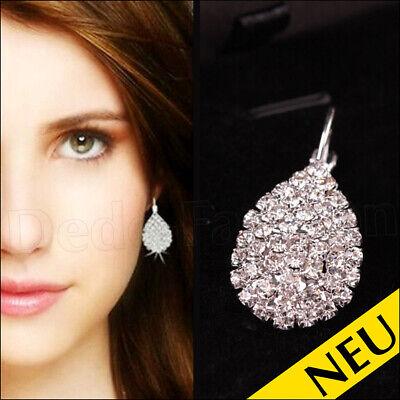 NEU 🌸 Strass OHRRINGE Glitzer PARTY Silber Kristall DIVA Modeschmuck 🌸 Fashion (Silber Diva)