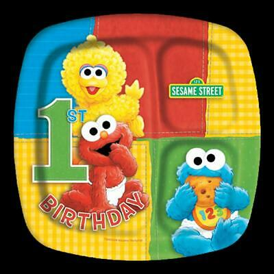 Sesame Street Party Plates (8 Sesame Street 1st Birthday DINNER PLATES 9 inch Pocket Party Supplies)