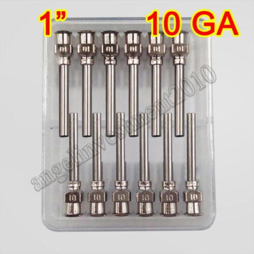 "12pcs 1"" 10GA Blunt stainless all steel dispensing syringe needle tips"