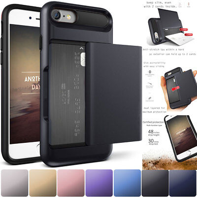 Credit Card Holder Wallet Case Shockproof Phone Cover For Iphone 6 6S 7 8 Plus