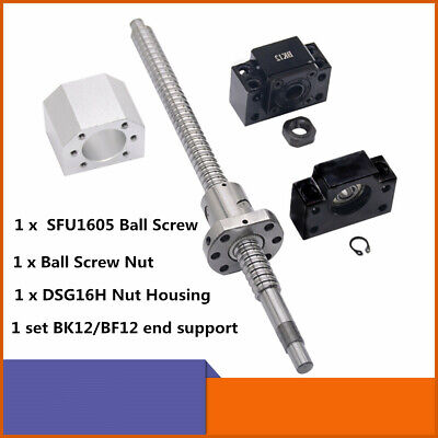 Cnc Ball Screw Set Sfu1605 With Nut L250-1500mm Bkbf12 Support Nut Housing
