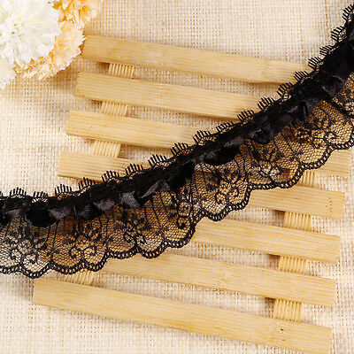 10m 2 layer Black Satin Ribbon Gathered Lace 5cm wide Trim