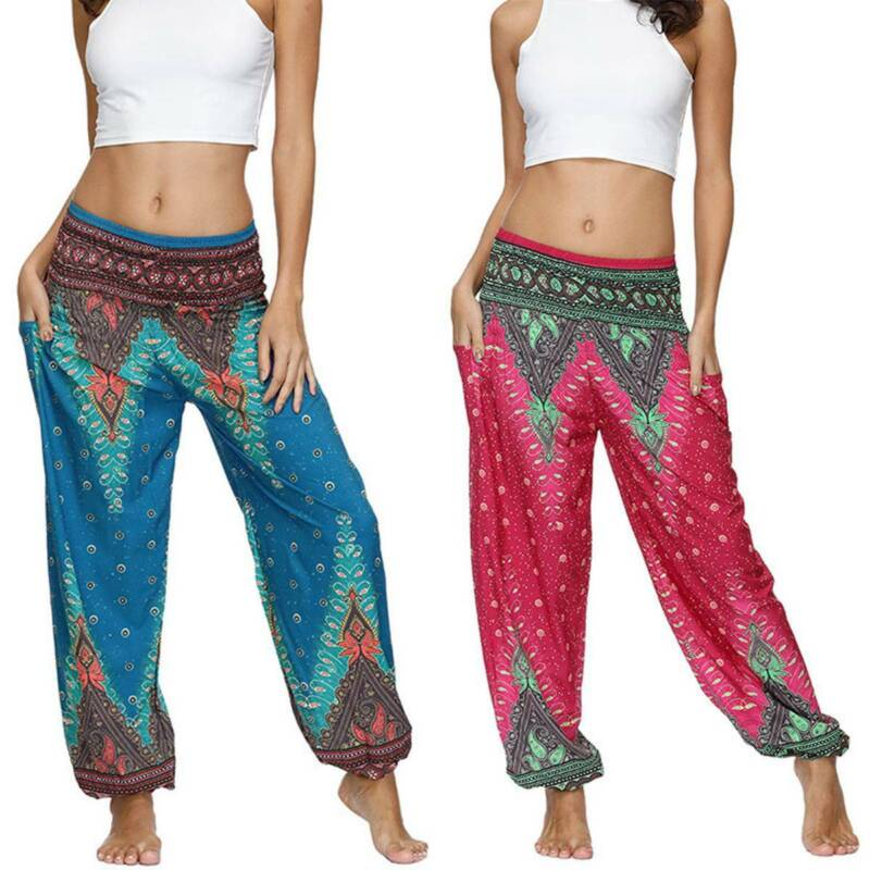 Damen Boho Thai Yoga Harem Hosen Boho Baggy Leggings Gypsy Hippie Laternehosen
