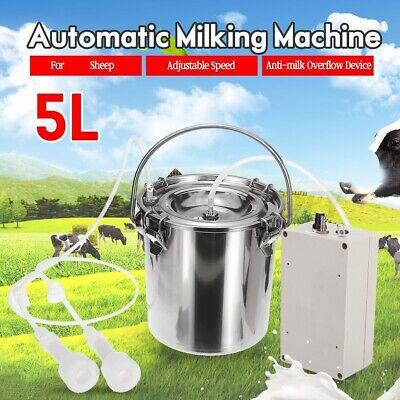 5l Electric Milking Machine Vacuum Pump Stainless Steel Sheep Goat Milker Farm