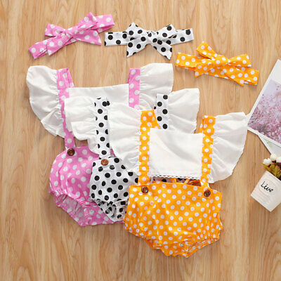 Newborn Baby Girl Polka dot Summer Clothes Romper Jumpsuit Sunsuit Outfit US
