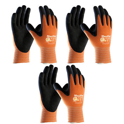 3 Pack Maxiflex Ultimate 34-8014 Hi-vis Orange Nitrile Grip Gloves Sizes S-xxl