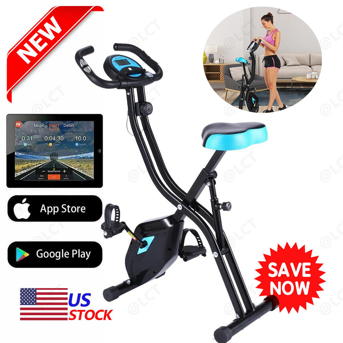 3Types 2 in1 Folding Stationary Upright Indoor Cycling Exerc