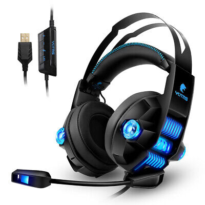Headphone Over Ear Wired Gaming Headset with Mic / LED Light Super Bass Earphone