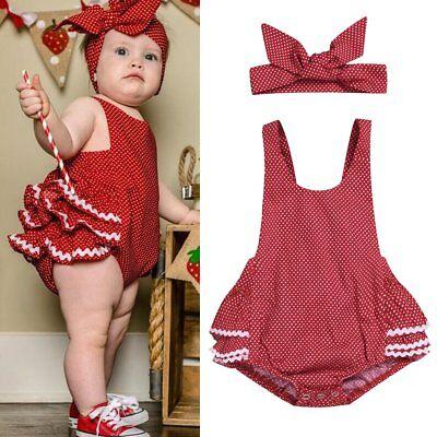 2PCS Newborn Baby Girl Romper Tutu Dress Headband Outfits Sunsuit Clothes Set ()