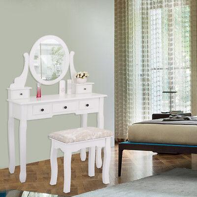 Vanity Jewelry Makeup Dressing Table Set Oval Mirror Stool Desk ()