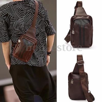Retro Men Leather Small Backpack Sling Chest Crossbody Sport Shoulder Bag Purse
